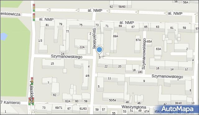 Częstochowa, Stryjeńskiej Zofii, 3, mapa Częstochowy