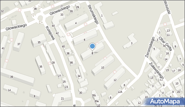 Dębica, Strumskiego, 8, mapa Dębicy