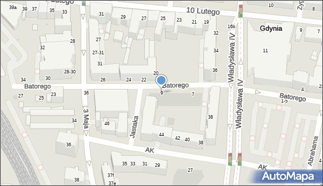 Gdynia, Stefana Batorego, 9, mapa Gdyni