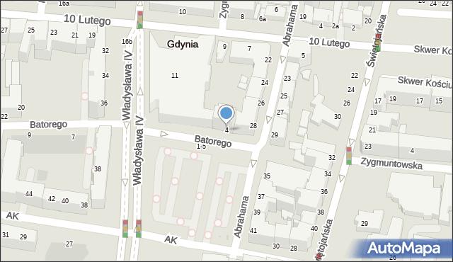 Gdynia, Stefana Batorego, 10, mapa Gdyni