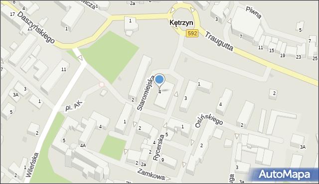 Kętrzyn, Staromiejska, 4, mapa Kętrzyn