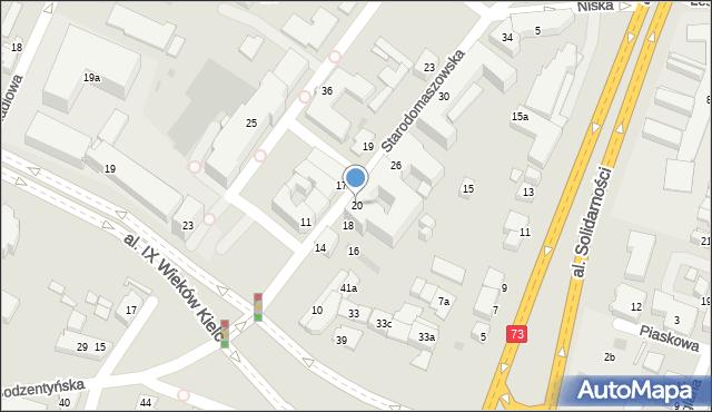 Kielce, Starodomaszowska, 20, mapa Kielc