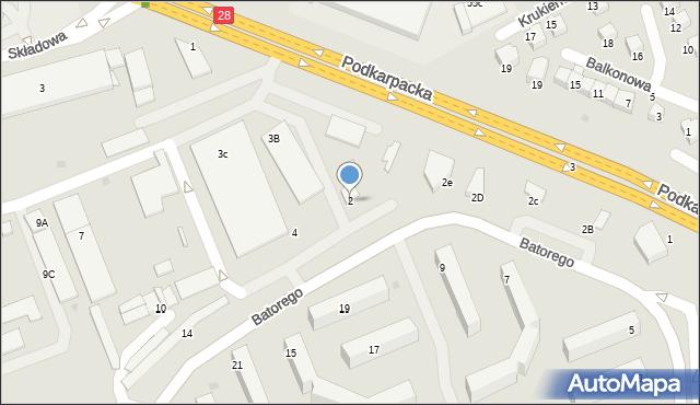 Krosno, Stefana Batorego, 2, mapa Krosna