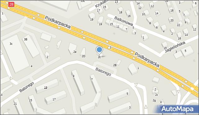 Krosno, Stefana Batorego, 2c, mapa Krosna