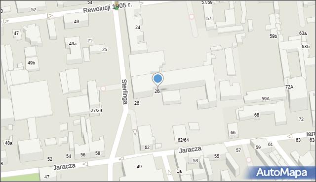Łódź, Sterlinga Seweryna, dr., 26i, mapa Łodzi