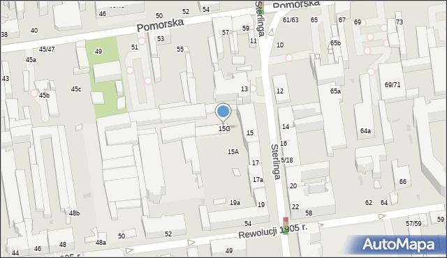 Łódź, Sterlinga Seweryna, dr., 15G, mapa Łodzi