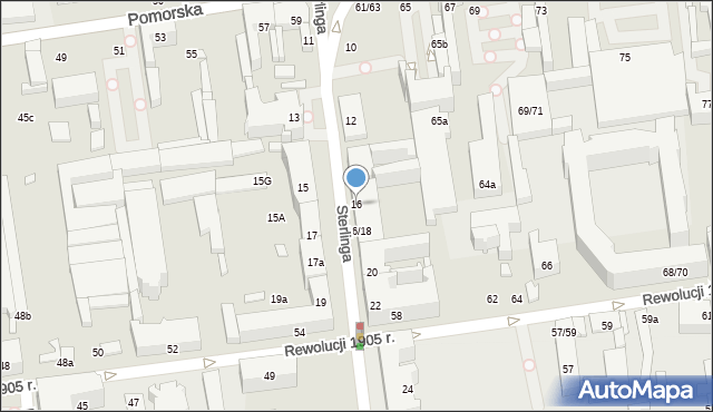Łódź, Sterlinga Seweryna, dr., 16, mapa Łodzi