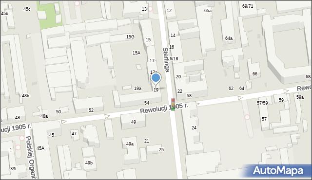 Łódź, Sterlinga Seweryna, dr., 19, mapa Łodzi