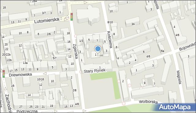 Łódź, Stary Rynek, 1a, mapa Łodzi