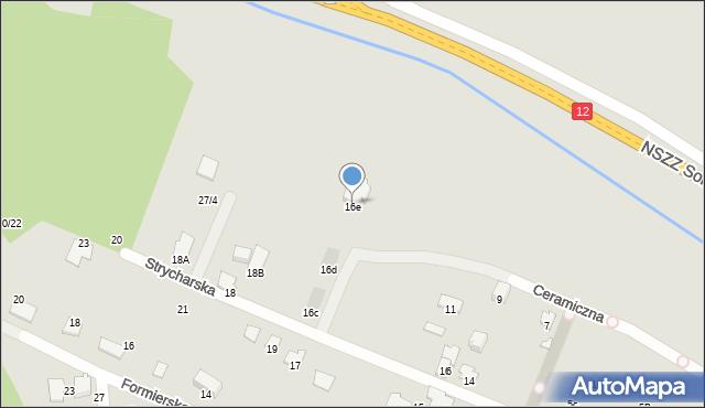 Radom, Strycharska, 16e, mapa Radomia