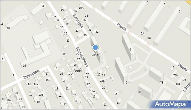 Radom, Stasieckiego Eugeniusza, kpt. hm., 28/36, mapa Radomia