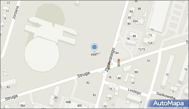 Radom, Struga Andrzeja, 65/67, mapa Radomia