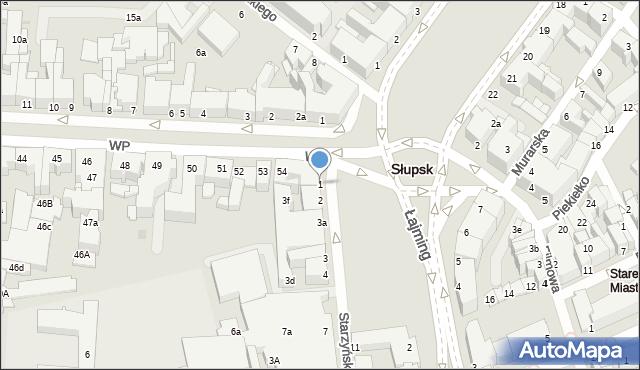 Słupsk, Starzyńskiego Stefana, 1, mapa Słupska