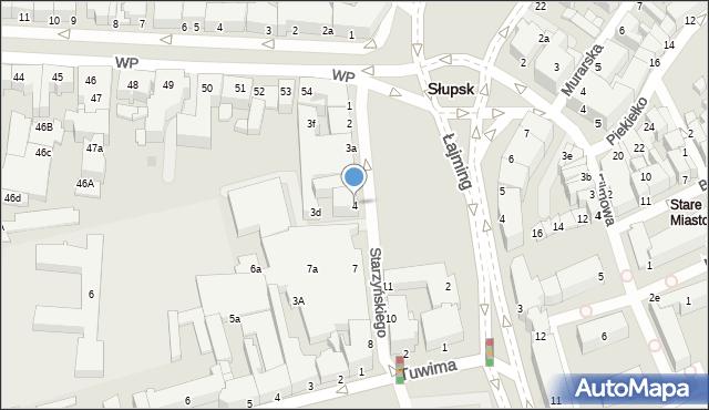 Słupsk, Starzyńskiego Stefana, 4, mapa Słupska