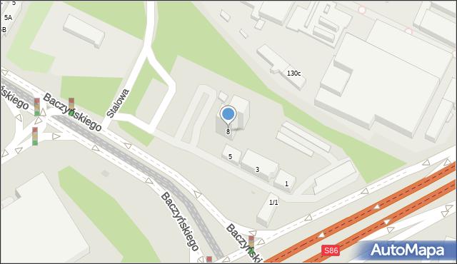 Sosnowiec, Stalowa, 8, mapa Sosnowca