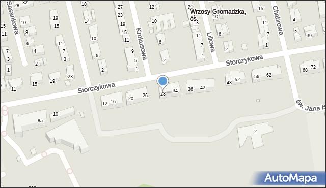 Toruń, Storczykowa, 28, mapa Torunia