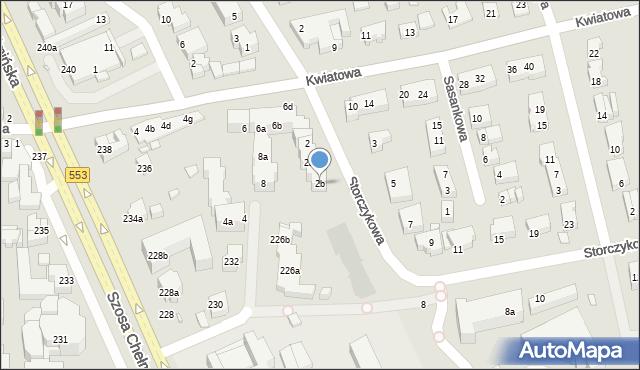 Toruń, Storczykowa, 2b, mapa Torunia
