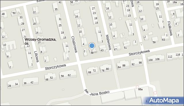 Toruń, Storczykowa, 39, mapa Torunia