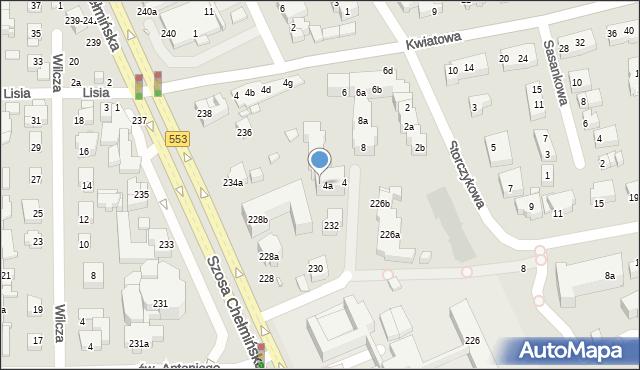 Toruń, Storczykowa, 4b, mapa Torunia