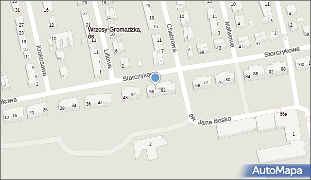 Toruń, Storczykowa, 58, mapa Torunia