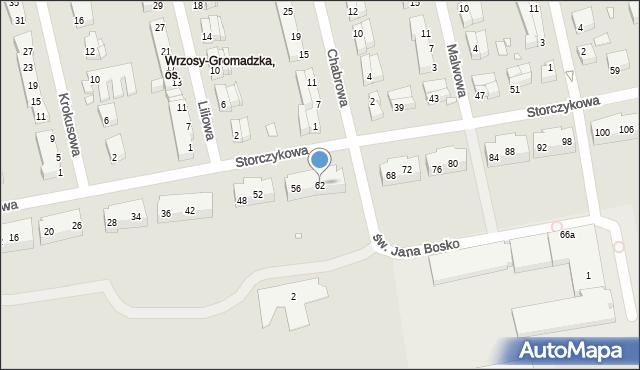 Toruń, Storczykowa, 62, mapa Torunia