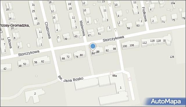 Toruń, Storczykowa, 84, mapa Torunia