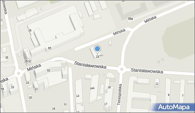Warszawa, Stanisławowska, 14, mapa Warszawy