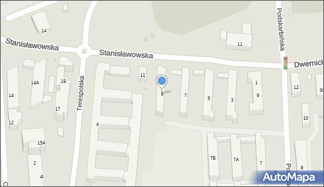Warszawa, Stanisławowska, 9, mapa Warszawy
