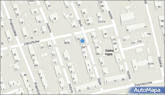 Warszawa, Styki Jana, 11A, mapa Warszawy