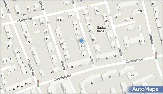 Warszawa, Styki Jana, 5, mapa Warszawy