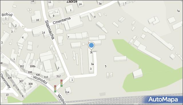 Zabrze, Stalmacha Pawła, 3c, mapa Zabrza