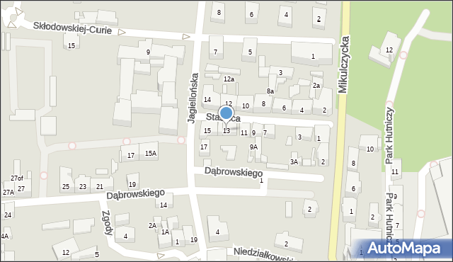 Zabrze, Staszica Stanisława, 13, mapa Zabrza