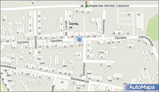 Zabrze, Stefana Batorego, 1, mapa Zabrza
