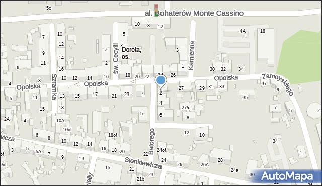 Zabrze, Stefana Batorego, 2, mapa Zabrza