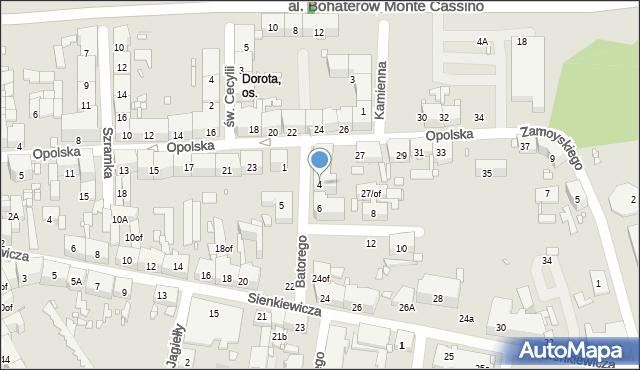 Zabrze, Stefana Batorego, 4, mapa Zabrza