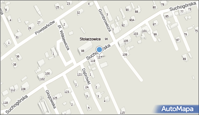 Bytom, Suchogórska, 117, mapa Bytomia