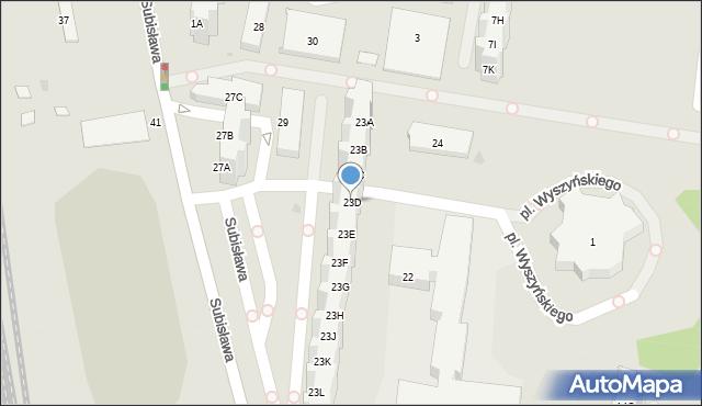 Gdańsk, Subisława, 23D, mapa Gdańska