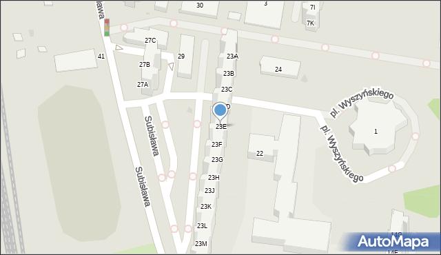 Gdańsk, Subisława, 23E, mapa Gdańska