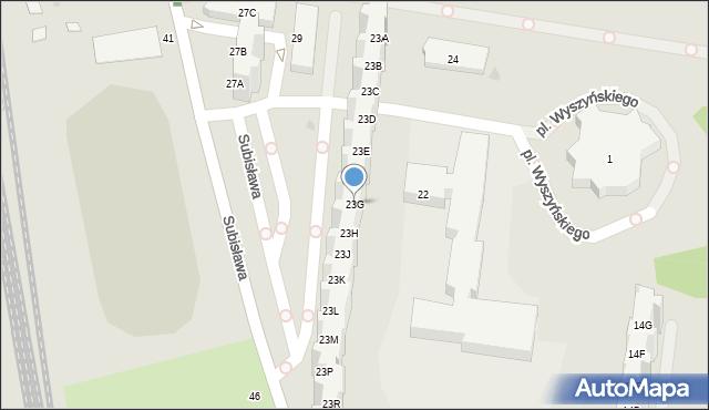 Gdańsk, Subisława, 23G, mapa Gdańska