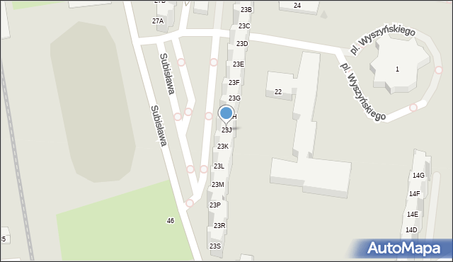 Gdańsk, Subisława, 23J, mapa Gdańska