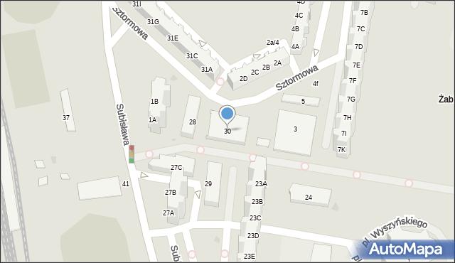 Gdańsk, Subisława, 30, mapa Gdańska