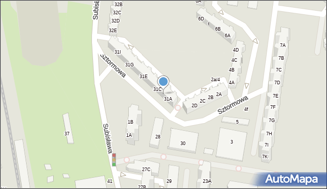 Gdańsk, Subisława, 31B, mapa Gdańska