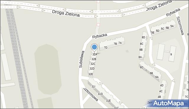 Gdańsk, Subisława, 32A, mapa Gdańska