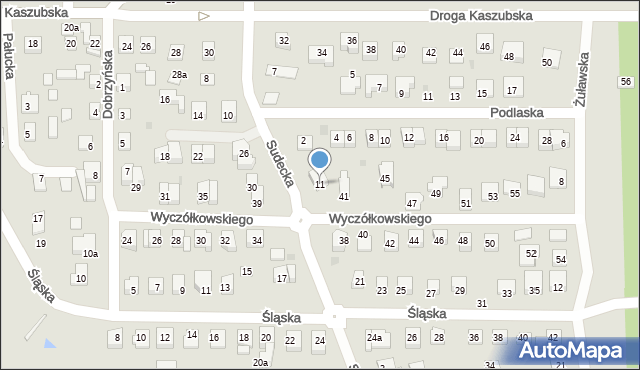 Grudziądz, Sudecka, 11, mapa Grudziądza