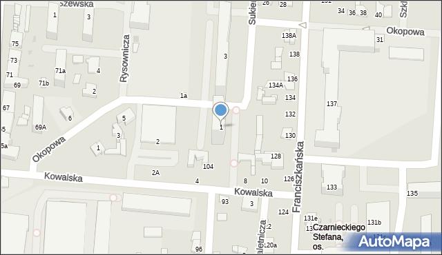 Łódź, Sukiennicza, 1, mapa Łodzi