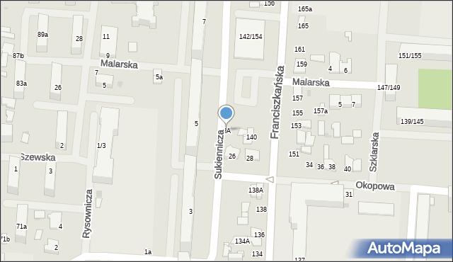 Łódź, Sukiennicza, 6A, mapa Łodzi
