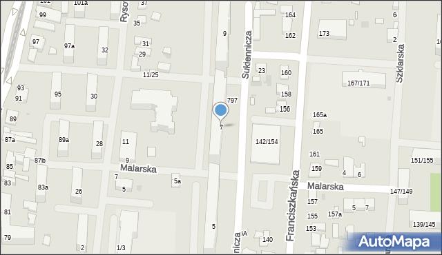 Łódź, Sukiennicza, 7, mapa Łodzi