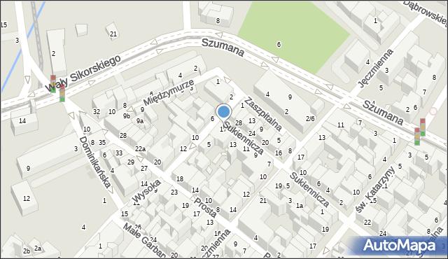 Toruń, Sukiennicza, 17, mapa Torunia