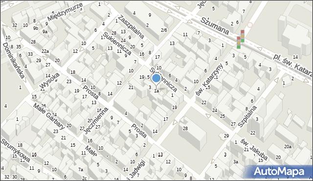 Toruń, Sukiennicza, 1a, mapa Torunia