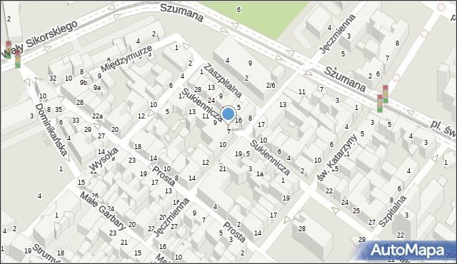 Toruń, Sukiennicza, 7, mapa Torunia